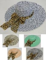 Ladies Large-Brim Fashion Hat [Two-Tone Woven with Cheetah Bow]
